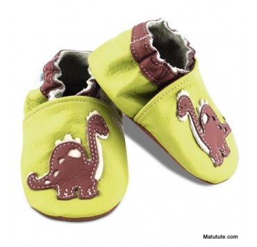 Chaussons cuir souple dinosaures