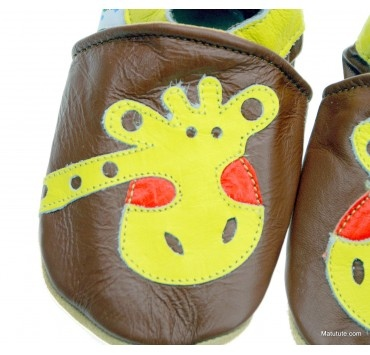 Chaussons cuir souples id-baby girafe rigolote