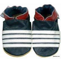 Chaussons cuir souples id-baby marin