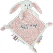Doudou personnalisé Lapin roses little dutch
