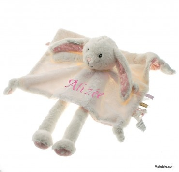 Doudou personnalisé grand Lapin dessins roses little dutch