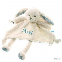 Doudou personnalisé grand Lapin dessins bleus little dutch