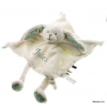 Doudou personnalisé grand Lapin dessins  Menthe little dutch