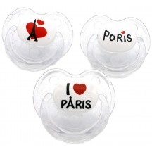 Pack de 3 tétines I love Paris Physiologique slim line | Matutute.com