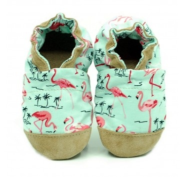 Chaussons cuir et tissus flamants roses