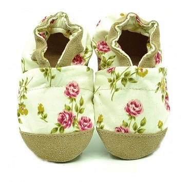 Chaussons cuir et tissus roses liberty