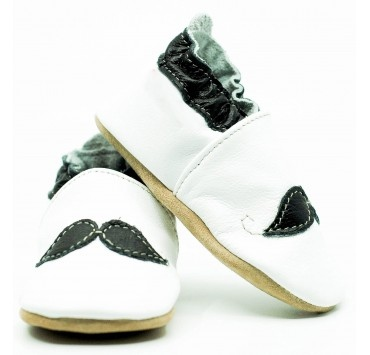 Chaussons cuir souple little man moustache